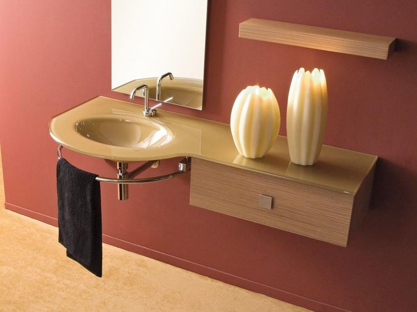 Single wall-mounted vanity unit with drawers COMPOS 196 - LASA IDEA