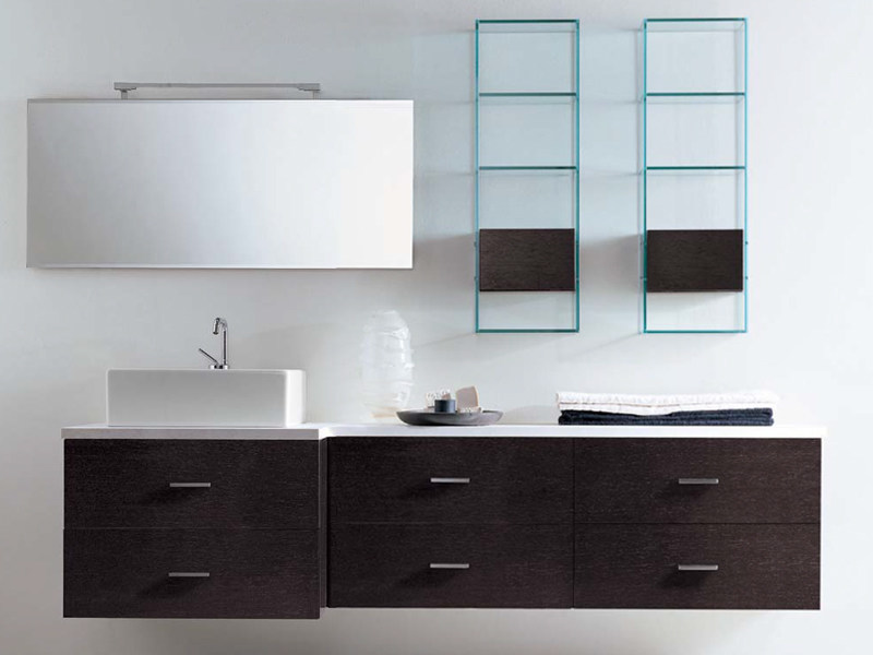 Wall-mounted wenge vanity unit with drawers COMPOS 90 - LASA IDEA