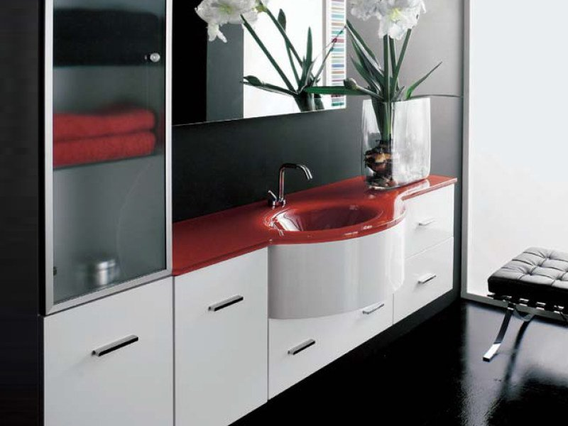 Wall-mounted vanity unit with drawers COMPOS 120 - LASA IDEA