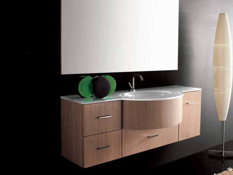 Wall-mounted vanity unit with drawers COMPOS 130 - LASA IDEA