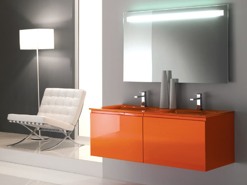 Double lacquered wall-mounted vanity unit TWING 020 - LASA IDEA