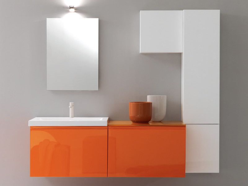 Wall-mounted vanity unit with cabinets TWING 021 - LASA IDEA
