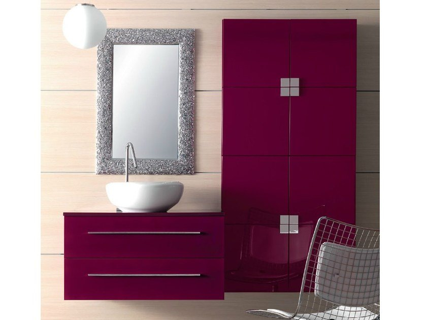 Wall-mounted vanity unit with cabinets TWING 026   Vanity unit - LASA IDEA