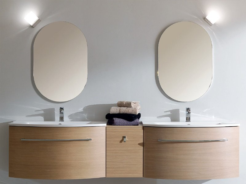 Double wall-mounted vanity unit TWING 027 by LASA IDEA