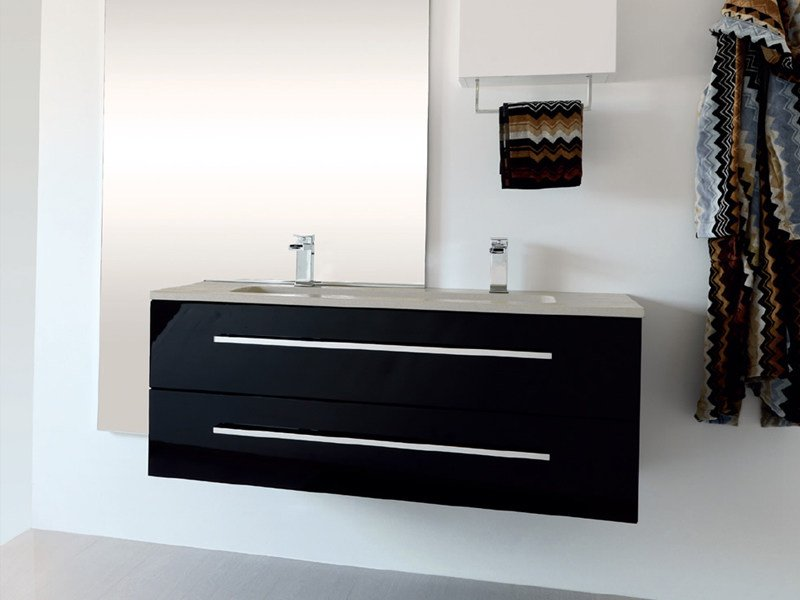 Double lacquered wall-mounted vanity unit TWING 028 - LASA IDEA
