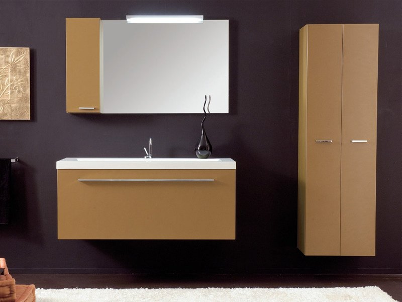 Lacquered wall-mounted vanity unit TWING 6 - LASA IDEA