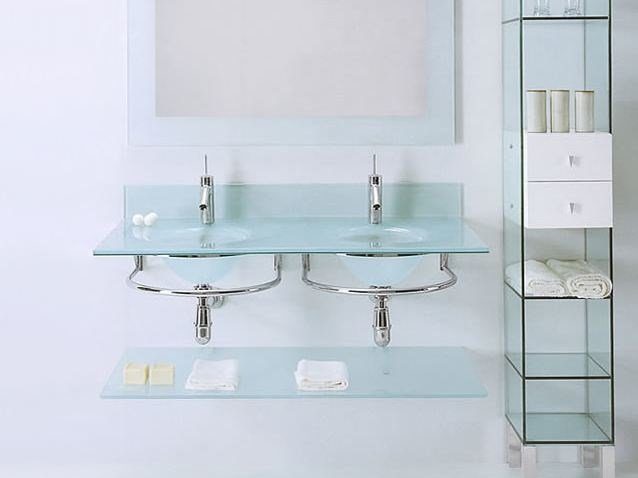 Double crystal washbasin with towel rail BAGNI & CRISTALLI 200 - LASA IDEA