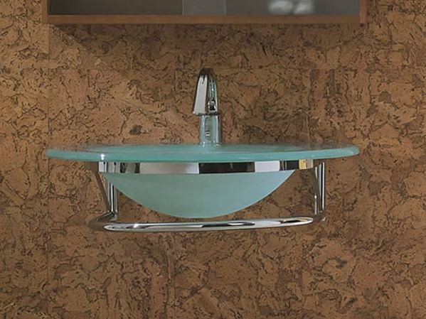 Wall-mounted crystal washbasin with towel rail BAGNI & CRISTALLI 603 - LASA IDEA