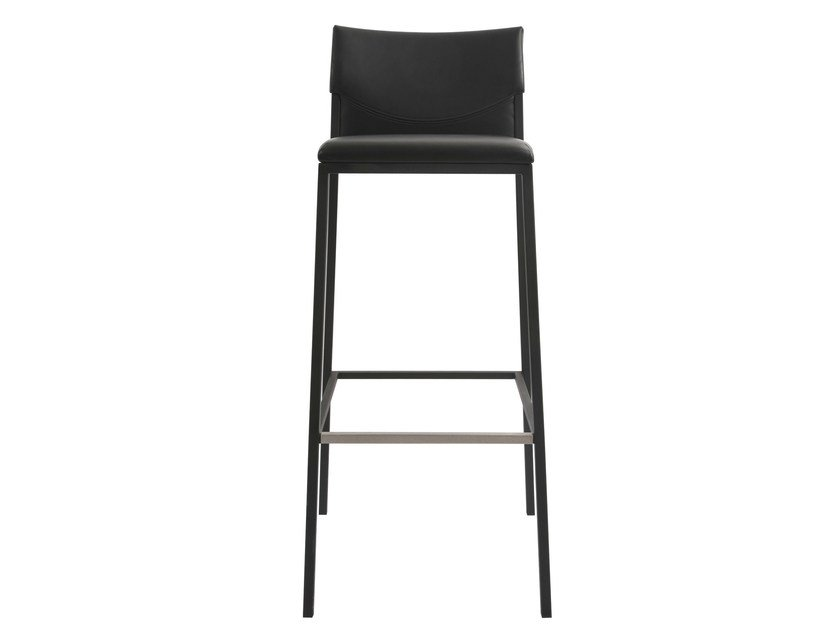High upholstered leather barstool UNIT | Leather stool - KFF
