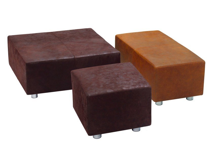 Upholstered leather ottoman INDIA by KFF
