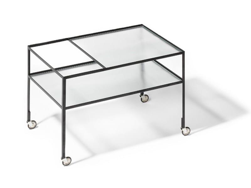 Glass and steel drinks trolley BARWAGEN - Richard Lampert