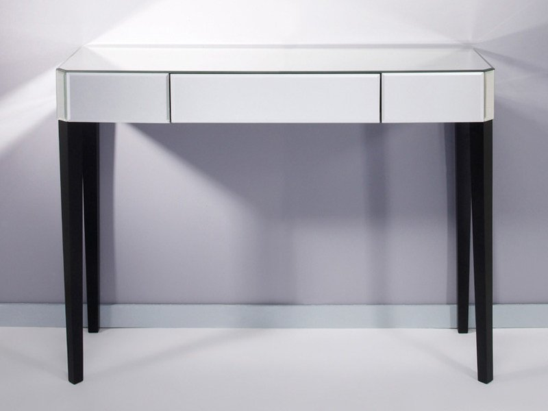 Rectangular mirrored glass console table with drawers GENTLY - DEKNUDT MIRRORS