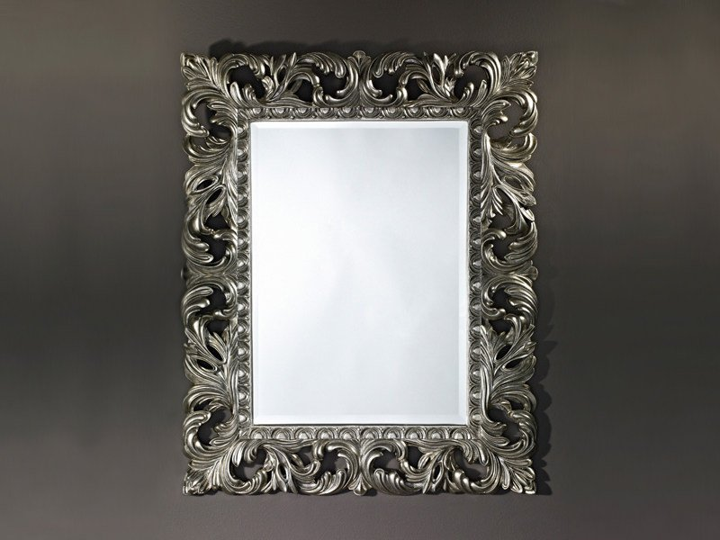 Framed rectangular mirror SCULPTURE SILVER - DEKNUDT MIRRORS
