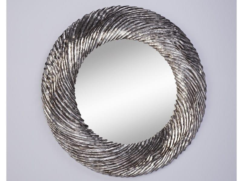 Espejo redondo con marco silver flow by deknudt mirrors for Espejo redondo con marco