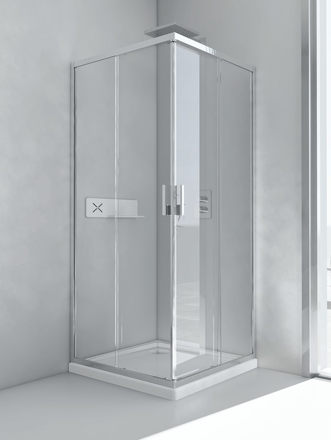 Glass and aluminium shower cabin with sliding door EVOLUTION A - RELAX