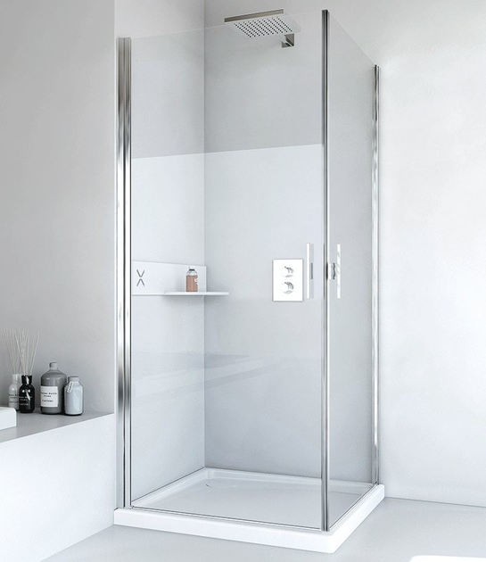 Corner glass and aluminium shower cabin with hinged door LIGHT AB + AB - RELAX