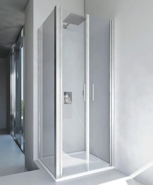 Corner glass and aluminium shower cabin VERSUS B2 + F2 by RELAX