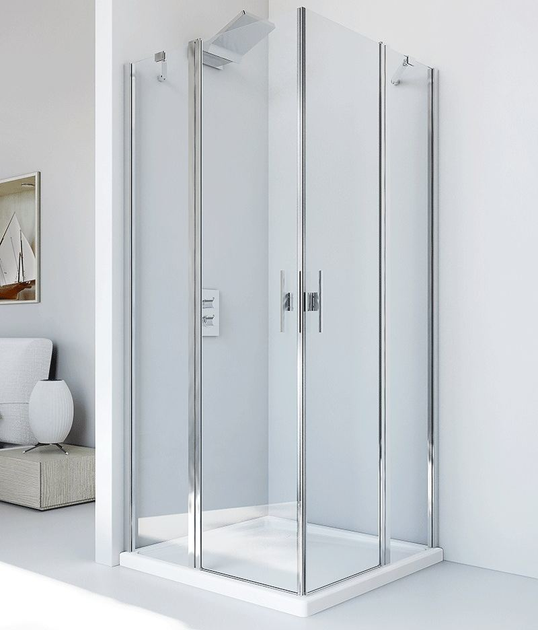 Corner glass and aluminium shower cabin with hinged door LIGHT PA + PA - RELAX