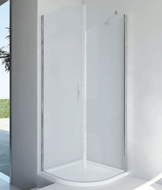 Semicircular glass and aluminium shower cabin with hinged door LIGHT RF - RELAX