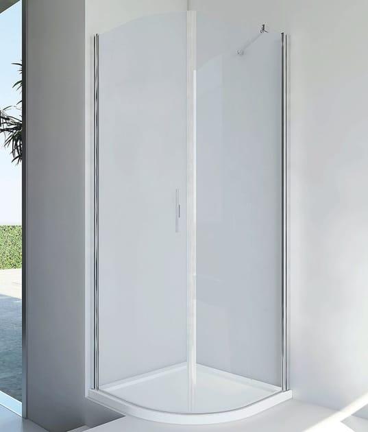 cabine de douche semi circulaire en aluminium et verre avec porte battante light rf by relax. Black Bedroom Furniture Sets. Home Design Ideas