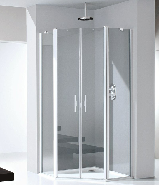 Glass and aluminium shower cabin with pivot door LIGHT PE - RELAX