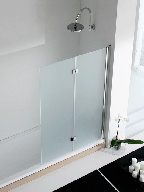 Folding glass and aluminium bathtub wall panel LIGHT VS - RELAX