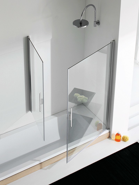 Glass and aluminium bathtub wall panel LIGHT VP1 + VP2 - RELAX