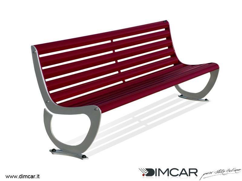 Contemporary style metal Bench with back Panchina Delta by DIMCAR