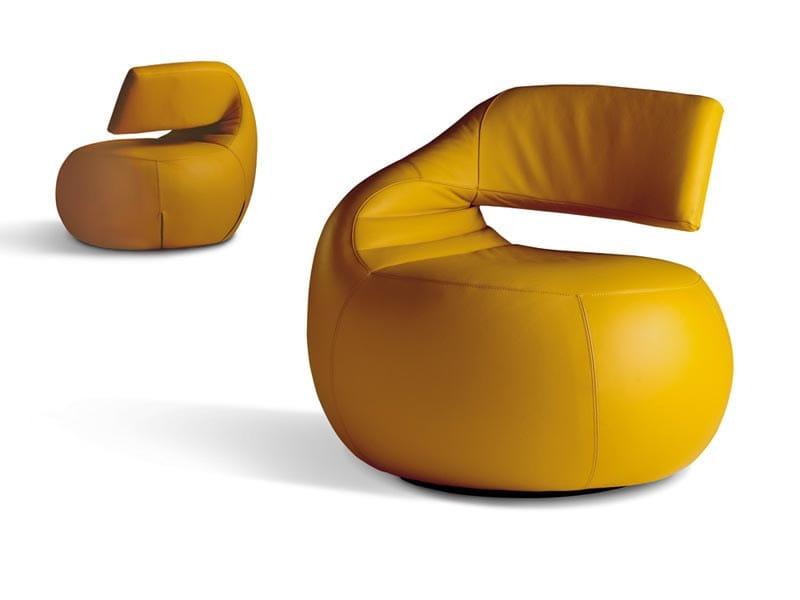Swivel upholstered leather armchair GISA - LEOLUX