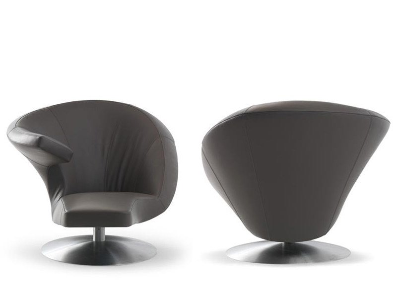 Swivel leather armchair PARABOLICA - LEOLUX