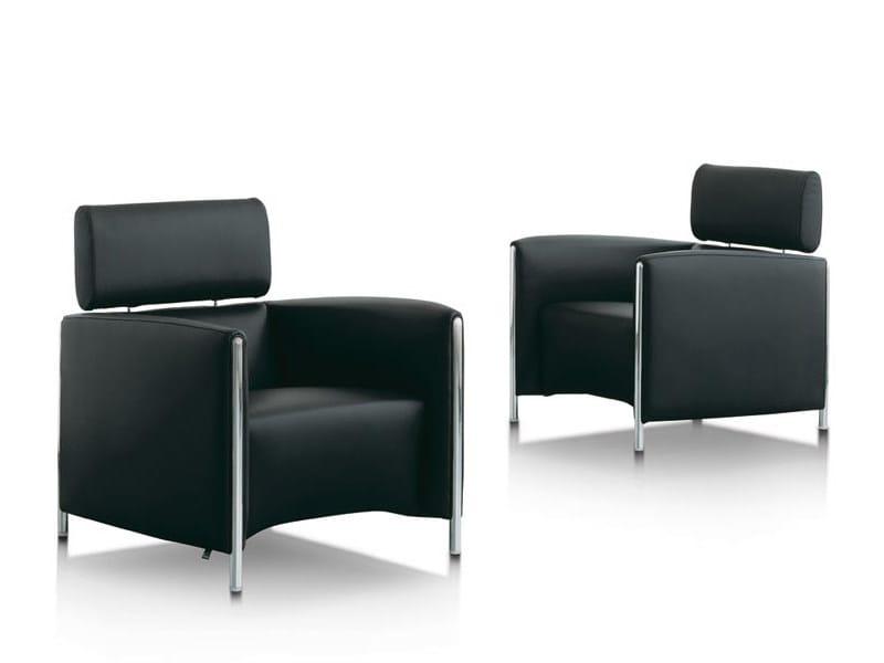 Leather armchair with headrest GONCHAROV | Armchair by LEOLUX