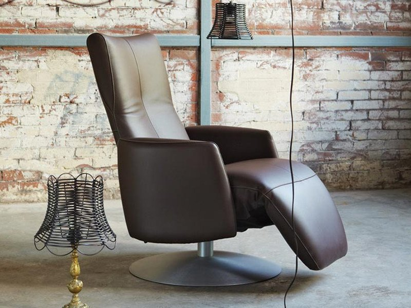 Swivel Recliner Leather Armchair With Motorised Functions