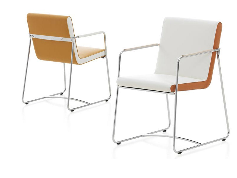 Sled base leather chair with armrests SPRING - LEOLUX