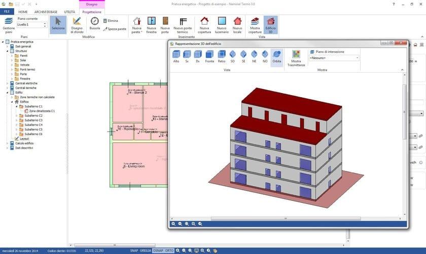 Vista 3D del fabbricato