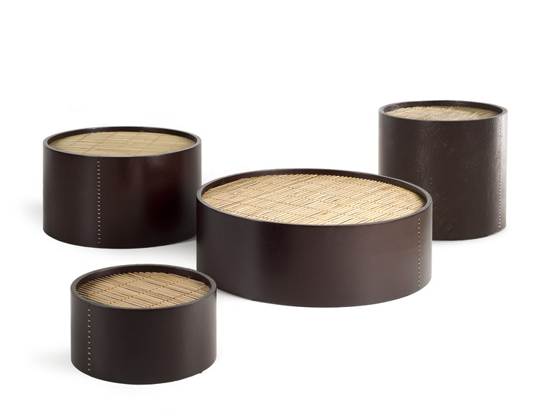 Tanned leather coffee table DIMSUM - KENNETH COBONPUE
