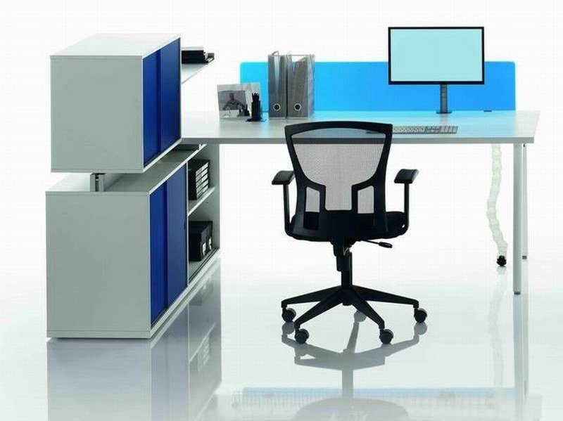 Rectangular workstation desk with shelves OP | Workstation desk - MASCAGNI