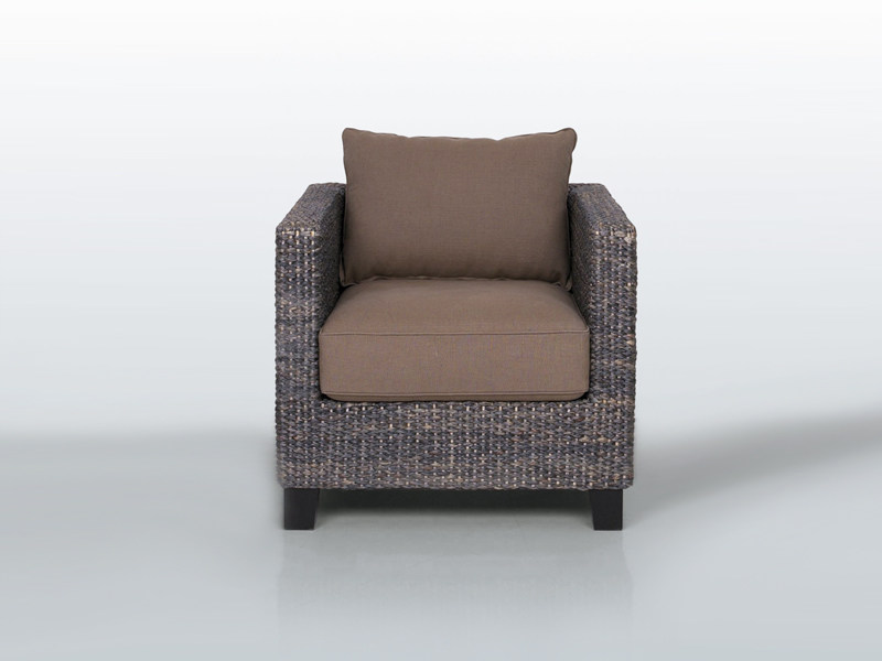 Natural fibre armchair with armrests WEDGE YO - INTERNI EDITION