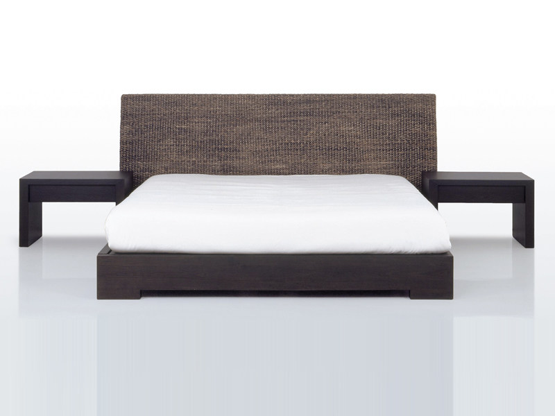 Natural fibre double bed with high headboard MEKONG | Bed - INTERNI EDITION