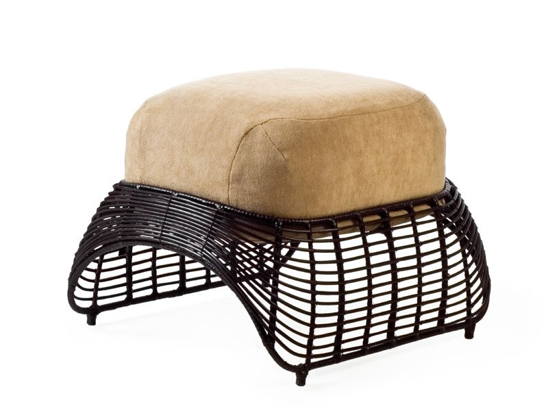 Upholstered rattan pouf MANOLO | Pouf by KENNETH COBONPUE