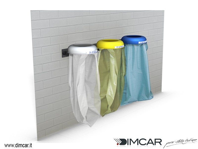 Outdoor metal waste bin for waste sorting Cestino Clean a muro by DIMCAR