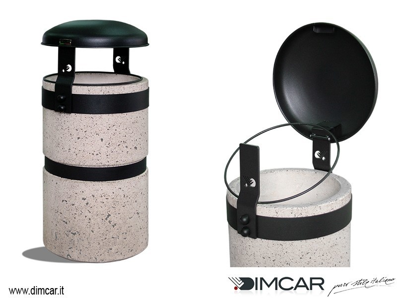 Outdoor Concrete and Cement-Based Materials waste bin with lid Luna finitura grigia - DIMCAR