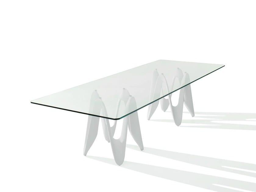 Rectangular glass table LAMBDA TWO BASES - SOVET ITALIA
