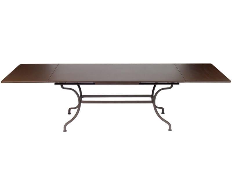 Table de jardin extensible rectangulaire en acier romane for Table extensible fermob