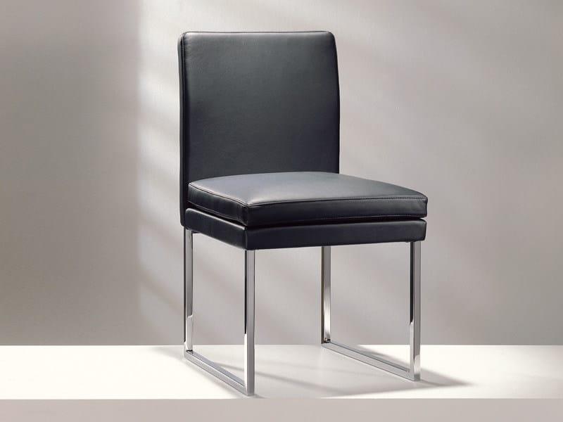 Sled base upholstered leather chair D13-11 | Sled base chair - Hülsta-Werke Hüls