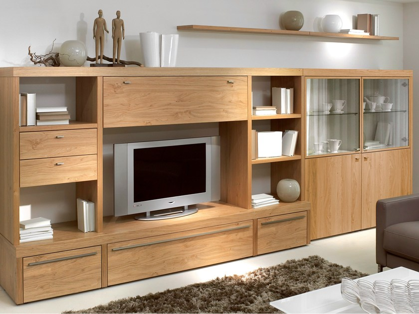 parete attrezzata in rovere con porta tv encado ii. Black Bedroom Furniture Sets. Home Design Ideas