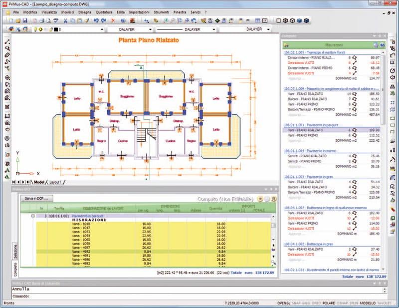 Cad con computo integrato primus cad acca software for Software per disegno 3d