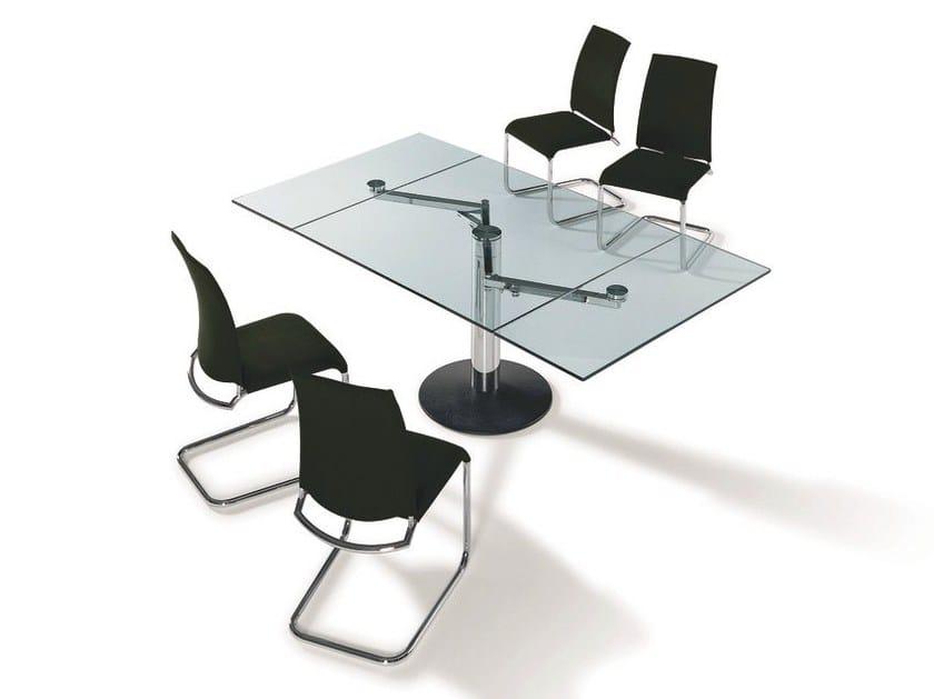 Extending rectangular glass table TITAN | Rectangular table - Draenert