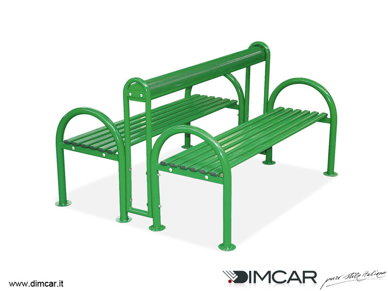 Classic style metal Bench with armrests with back Panca Genius doppia - DIMCAR
