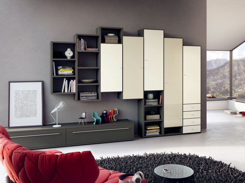 Sectional lacquered storage wall MEGA-DESIGN | Storage wall - Hülsta-Werke Hüls