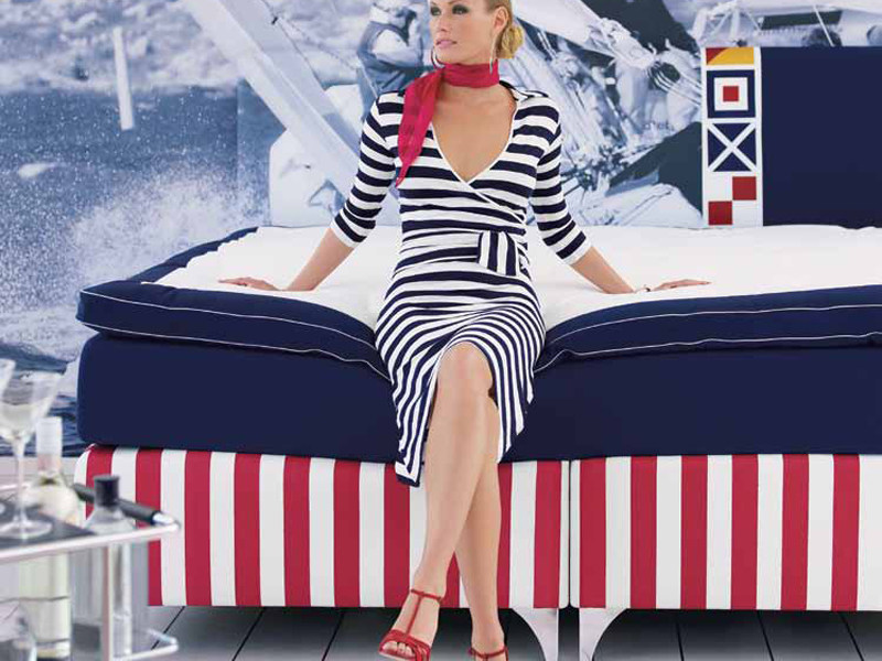 Fabric double bed REGATTA - Carpe Diem Beds of Sweden